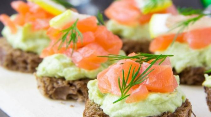 Wild Smoked Alaska Salmon and Guacamole Canapés
