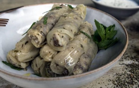 Lebanese Spicy Filled Cabbage Leaves