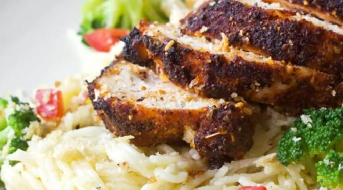 Blackened Chicken with Creamy Angel Hair Pasta